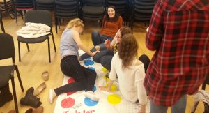 Counselling Students doing a Twister exercise